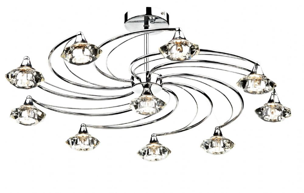 Luther 10-light Polished Chrome Semi-Flush Ceiling Light LUT2350